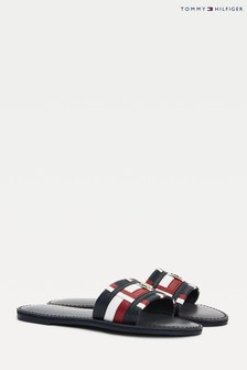 Tommy Hilfiger Corporate Flat Leather Mule Sandals
