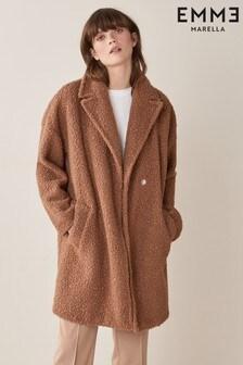 Emme Marella Brown Infante Teddy Faux Fur Coat