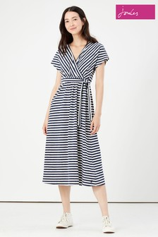 Joules Blue Riley Jersey Wrap Dress