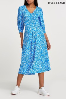 River Island Blue Ruched Placket Dress