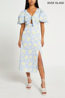 River Island Blue Tie Front Midi Dress