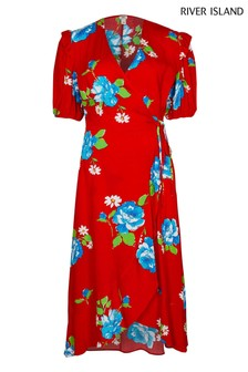 River Island Red Floral Wrap Dress