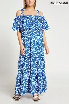 River Island Bright Blue Tie Strap Bardot Maxi Dress