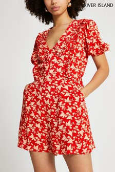 River Island Red Self Collar Playsuit