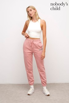 Nobody's Child Women's Dusty Pink Kindness Embroidered 90's Joggers