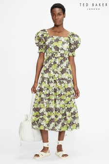 Ted Baker Maysiie Puff Sleeve Tiered Midi Dress