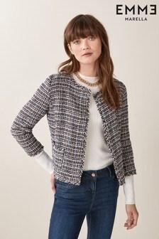 Emme Marella Blue Benny Tweed Check Jacket