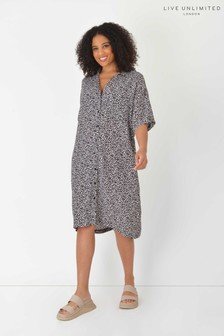 Live Unlimited Curve Sustainable Grey Animal Shirt Dress