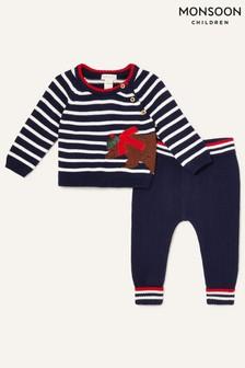 Monsoon Blue Newborn Bear And Stripe Knit Set