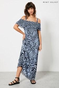 Mint Velvet Frida Print Bardot Maxi Dress