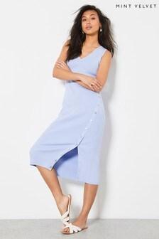 Mint Velvet Blue V-Neck Knit Midi Dress