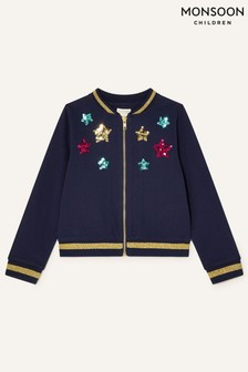 Monsoon Blue Sequin Star And Unicorn Jacket