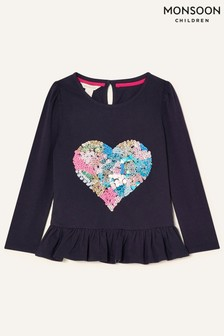 Monsoon Blue Embellished Heart Long Sleeve Top