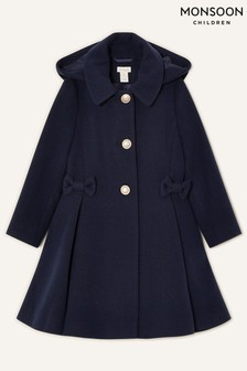 Monsoon Blue Bow Hooded Coat