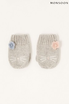 Monsoon Grey Baby Luna Kitty Mittens
