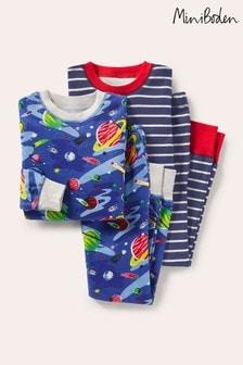Boden Younger Boys Blue Twin Pack Snug Pyjamas