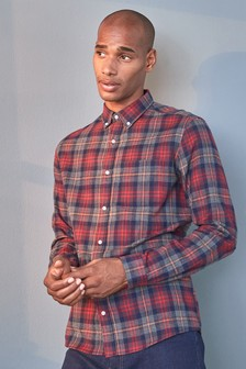 Grey/Red Brushed Flannel Check Long Sleeve Shirt