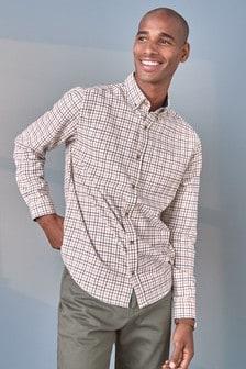 Ecru Brushed Flannel Check Long Sleeve Shirt