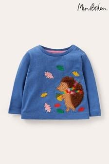 Boden Blue Hedgehog Appliqué T-Shirt