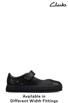 Clarks Black Rainbow Detail Leather Shoes