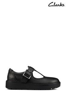 Clarks Black Leather T-Bar Shoes