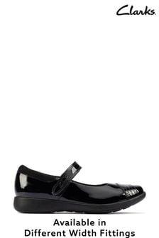 Clarks Black Patent Rainbow Detail Shoes