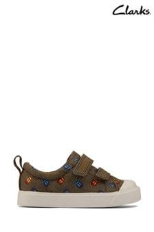 Clarks Khaki Canvas Bug Velcro Fastening Shoes