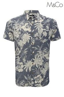 M&Co Blue Slub Floral Shirt