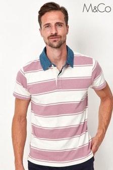 M&Co Men's Pink Stripe Rugby Shirt