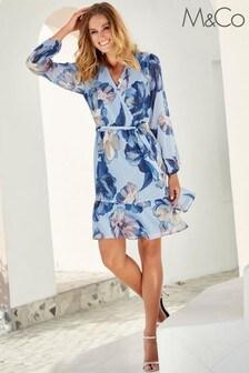 M&Co Blue Floral Shimmer Wrap Dress