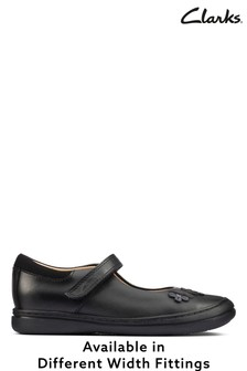 Clarks Black Daisy Detail Leather Shoes