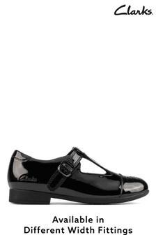 Clarks Black Patent T-Bar Shoes