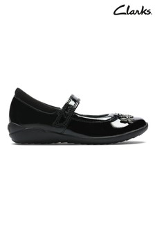 Clarks Black Patent Leaf Detail and Velcro Fastening Shoes