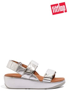 FitFlop Silver Lulu Adjustable Leather Sandals