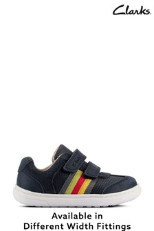 Clarks Navy Leather Shoes With Rainbow Colour Stripe