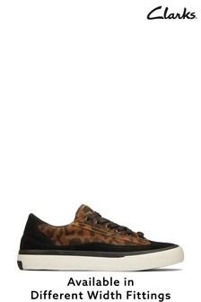 Clarks Leopard Suede Aceley Lace Shoes