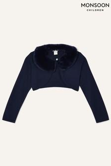 Monsoon Blue Supersoft Faux Fur Collar Cardigan