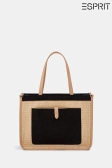 Esprit Black Contrast Pocket Shopper Bag