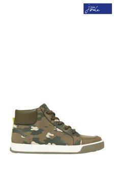 Joules Green Run Around High Top Lace-Up Trainers