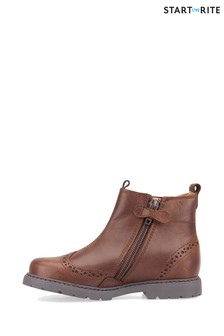 Start-Rite Chelsea Brown Leather Brogue Boots