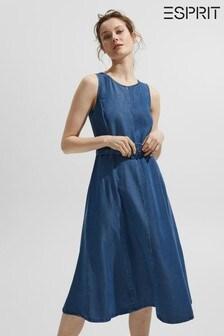 Esprit Blue Belted Denim Look Dress