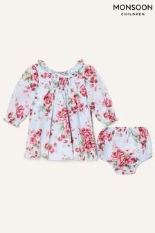 Monsoon Newborn Floral Dress And Briefs