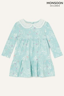 Monsoon Baby Lace Collar Butterfly Print Dress