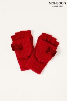 Monsoon Ruby Velvet Bow Capped Gloves