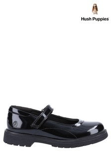 Hush Puppies Black Tally Senior Patent School Shoes