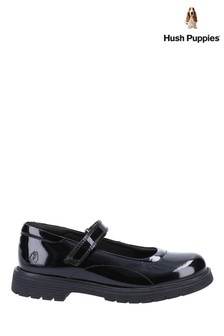 Hush Puppies Black Tally Junior Patent School Shoes