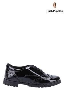 Hush Puppies Black Eadie Junior Patent School Shoes