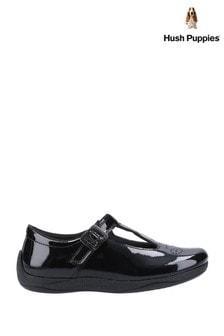 Hush Puppies Black Eliza Junior Patent School Shoes