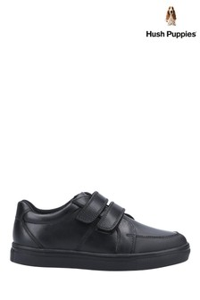 Hush Puppies Black Santos Junior School Shoes