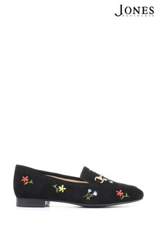 Jones Bootmaker Black Swallow Ladies Leather Embroidered Loafers